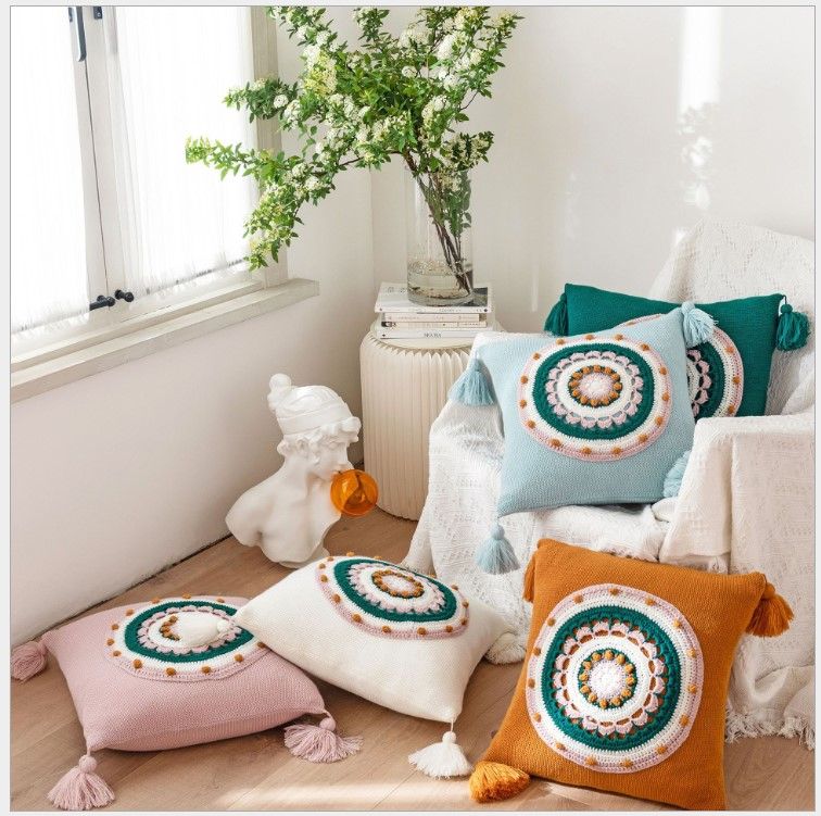 Hand Crochet Knitted Flowers Cushion Cover Blue Green Pillow Cover with Tassels Home Sofa Bed Living Room 45x45cm Pillowcase