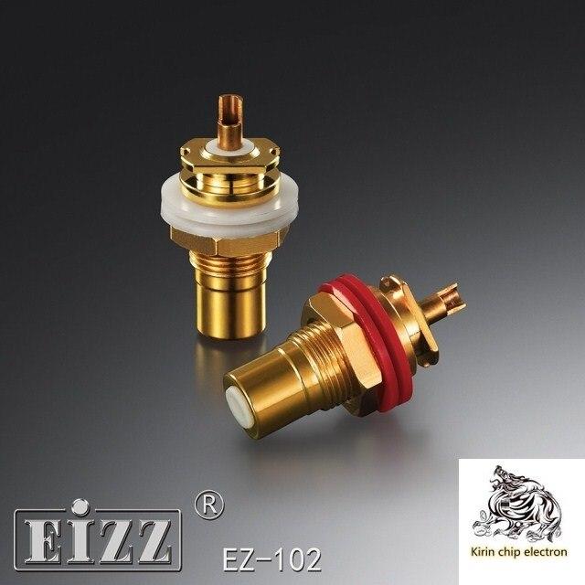 2PCS/LOT EIZZ EZ-102 Phosphor Bronze Gold Plated Audio Plug AV Audio Power Lotus Mother Seat RCA Signal Socket