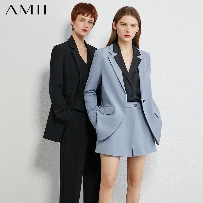 AMII minimalismo otoño Olstyle mujeres traje moda sólida solapa Abuckle traje abrigo de alta cintura pantalones cortos sueltos mujer traje 12030300