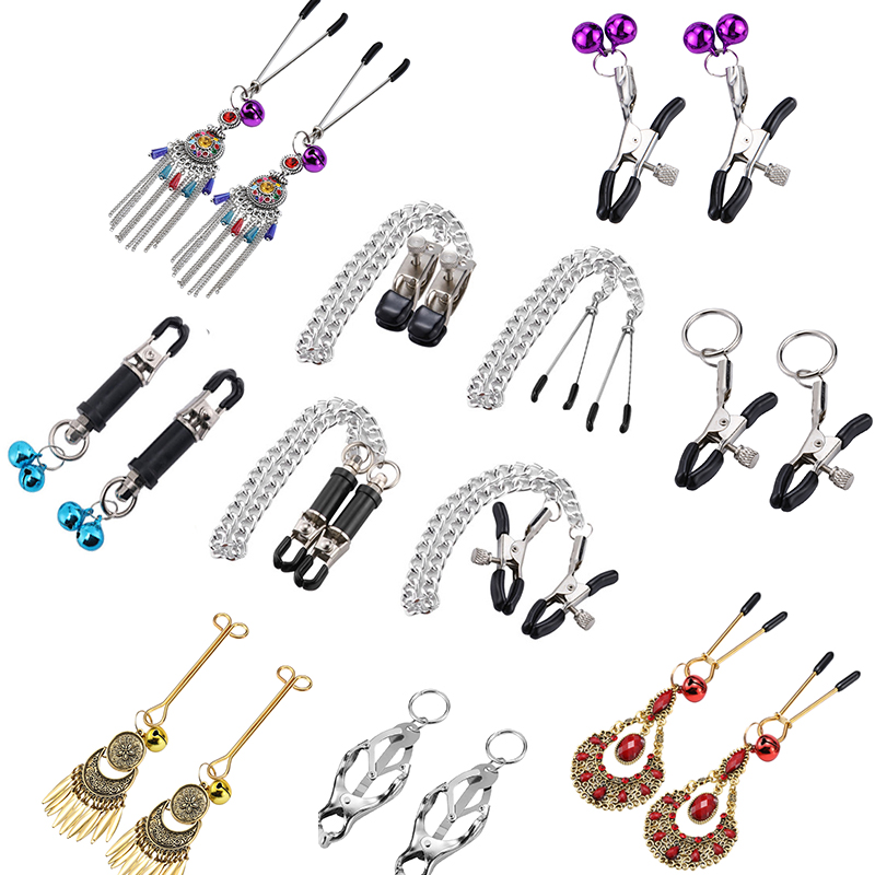 1 Pair Metal Bell Nipple Clamps With Chain Clips Flirting Teasing Sex Flirt Bondage Kit Slave BDSM Exotic Accessories For Woman