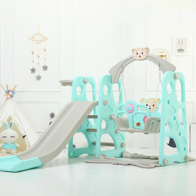 Baby Slide Swing Chair Combination Shoot Basketball Hoop Playground Toy Children Learning Story Play Set Water Flooding Board(China)