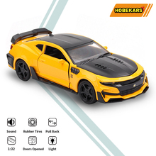 HOBEKARS 1:32 Diecasts Toy Vehicles Camaro Simulation Metal Alloy Model Sport Car With Pull Back Sound And Light For Collection 1 32 toy car simulation alloy catapult chariot three in one children sound and light pull back toy racing car ornaments model