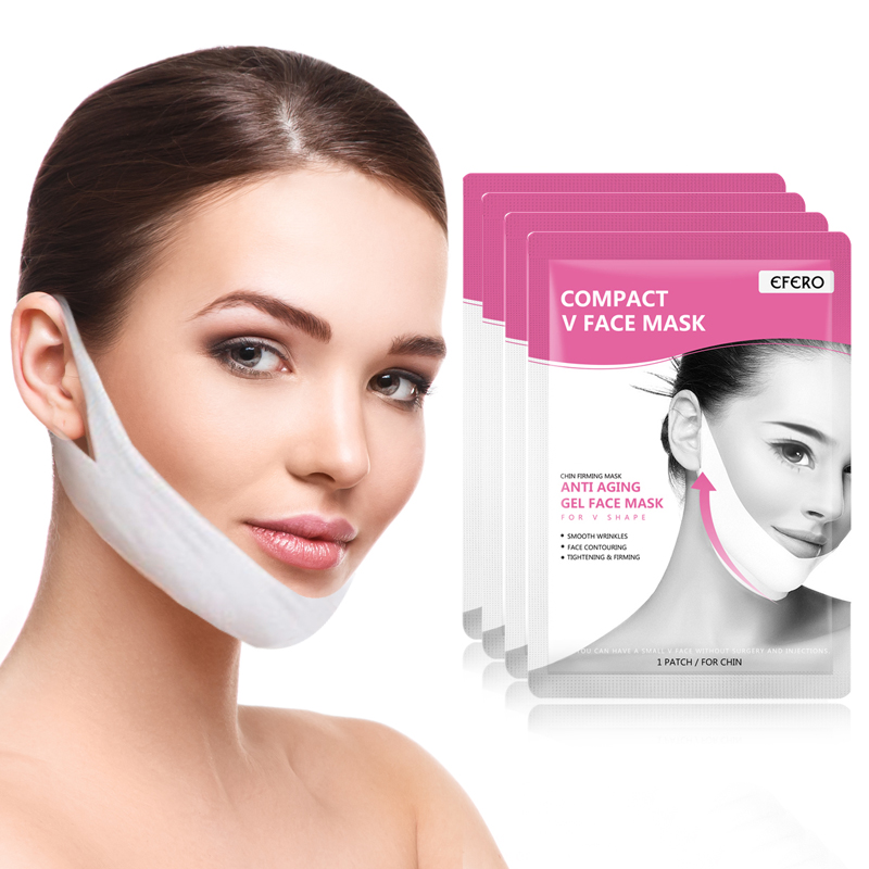 4PCS Lifting Face Mask Double V Face Shape Firming Mask Paper Slimming Eliminate Edema Firming Lifting Face Mask Face Care Tool
