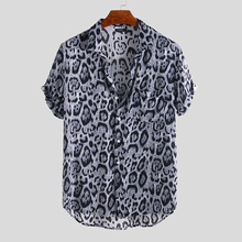 Mens Pocket Button Down Shirt Summer Male Leopard Print Shirts Short Sleeve Casual Holiday Street Shirts Turn Down Collar все цены