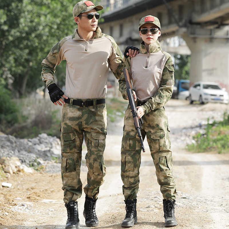 גברים הסוואה טקטי ציד בגדי Ghillie חליפת קרב אמריקאי צבאי אחיד מרובה Airsoft פיינטבול עם מרפק רפידות