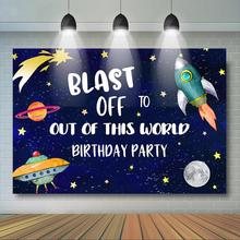 Universe Astronaut Birthday Backdrop Outer Space Boy Party Decor Spaceship Solar System Planet Background