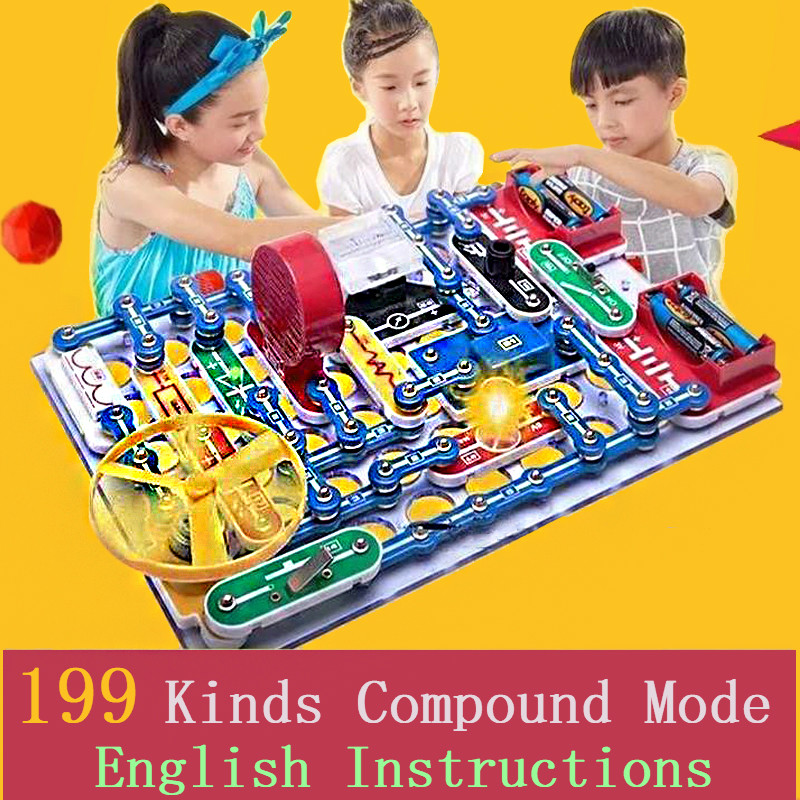 Brand New Electronics Block 199 Compound Mode Switch Circuits Kit Electric Educational Assembling Toys For Kids Gift