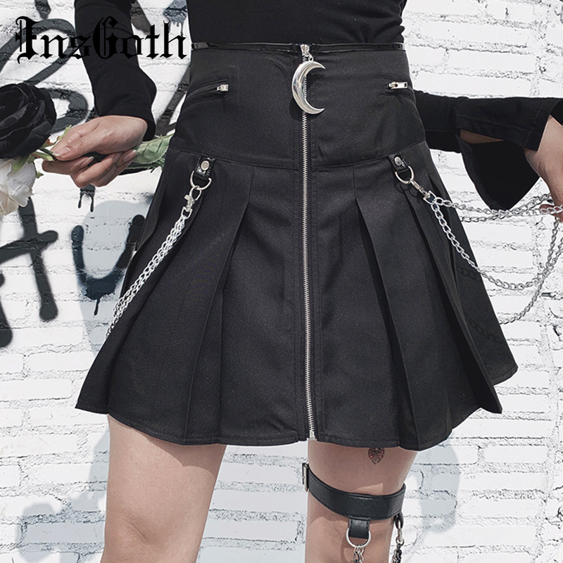 InsGoth High Waist Pleated Black Mini Skirts Women Moon Zipper With Chin Belts Gothic Streetwear Short Skirts Female Party Skirt