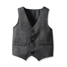 Boys Clothes Suit Vest Wedding Party Clothing Toddler Kids Costume Boys Formal Wear Cotton Single Breasted Special Occasion