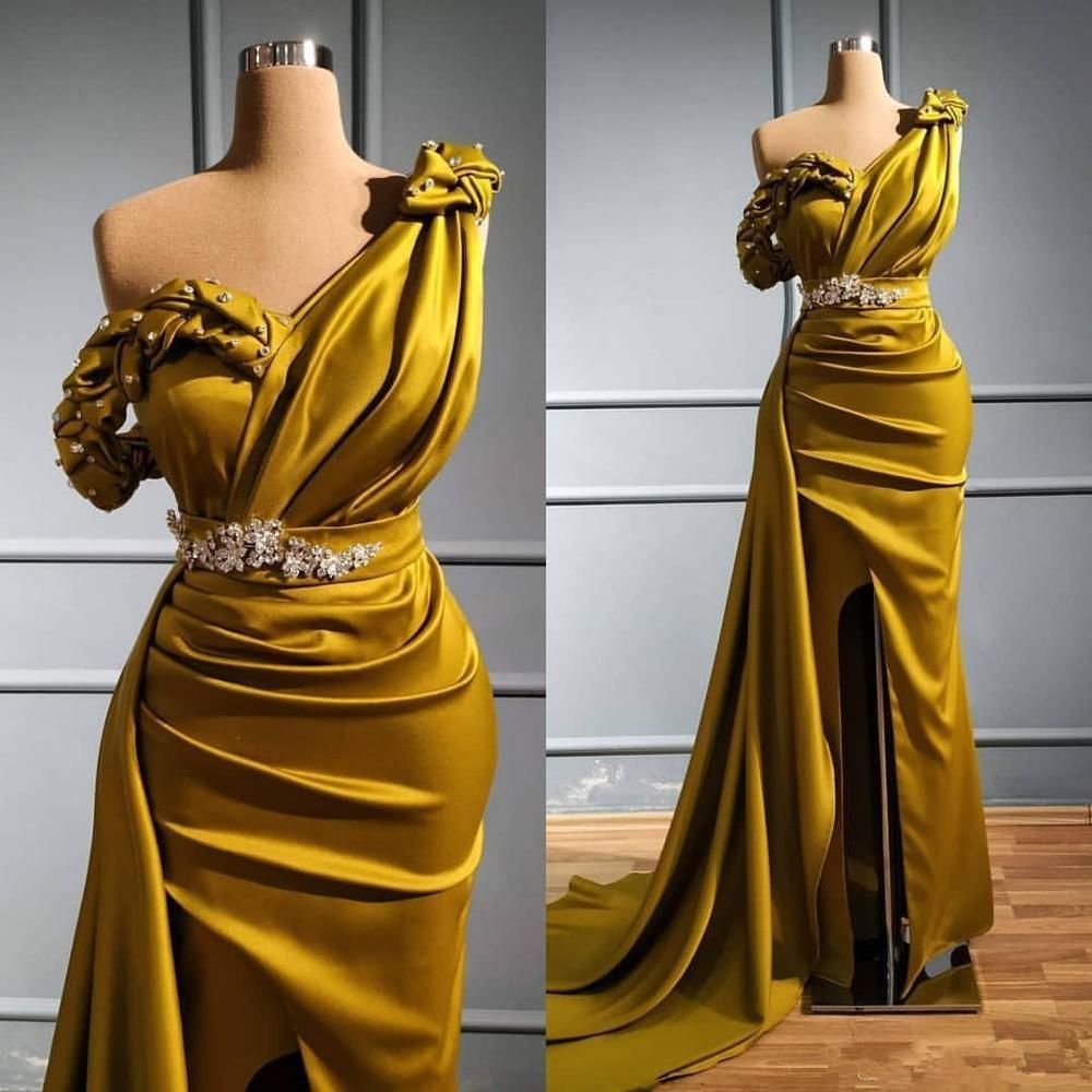 Arabic Gold Sexy Mermaid Prom Dresses One Shoulder Crystals Evening Dress 2020 High Split Formal Party Second Reception Gowns