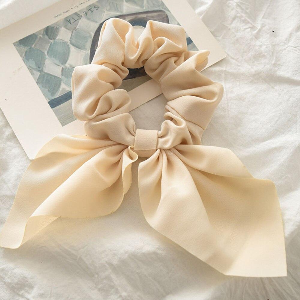 Новинка, шифоновые шелковые резинки для волос с бантом, женские жемчужные резинки для волос, резинки для волос, аксессуары для волос - Цвет: Creamy-white