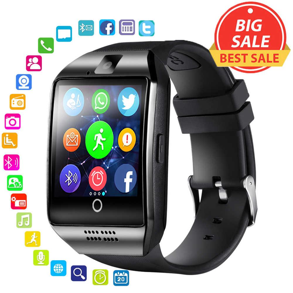 ساعة يد ذكية تعمل بالبلوتوث للرجال طراز Q18 مزودة بشاشة لمس وبطارية كبيرة وتدعم بطاقة TF وكاميرا Sim للهواتف التي تعمل بنظام الأندرويد