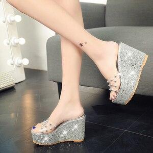 Image 4 - Lucyever Women Sandals Rivets Transparent Peep Toe High Heels Sandals Fashion Ladies Glitter Platform Wedges Summer Slides