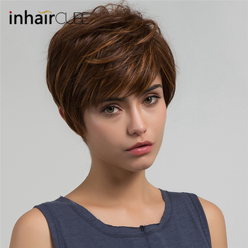 Imhaircube Synthetic Pixie Cut Women Wigs Natural Bangs Fluffy Layered Straight Blonde Highlights Heat Resistant Short Hair Wig 1