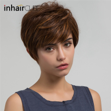 цена на Imhaircube Synthetic Pixie Cut Women Wigs Natural Bangs Fluffy Layered Straight Blonde Highlights Heat Resistant Short Hair Wig