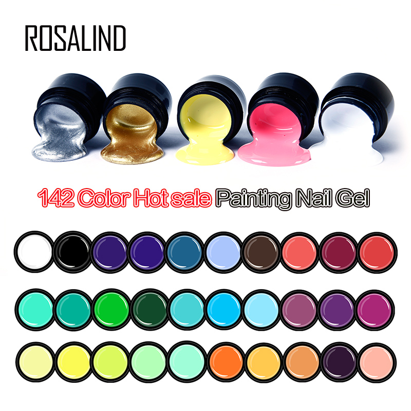 ROSALIND 5ML Painting Gel Varnish 142 Colors Gel Nail Polish Set For Manicure DIY Top Base Coat Hybird Design Of Nail Art Primer