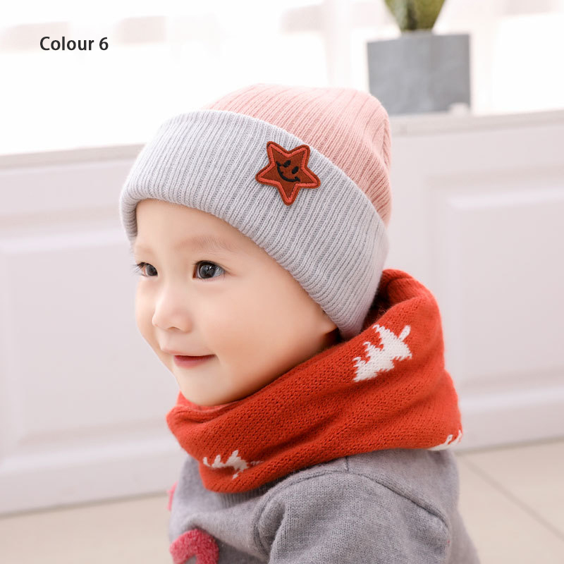 Soft Baby Knitted Hat Toddler Winter Warm Printed Letter Earflap Cap Girl Boy