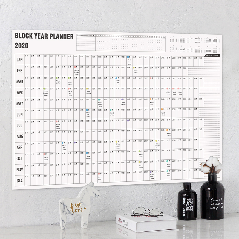 <font><b>2020</b></font> Wall Calendar Year Planner Daily Plan Paper with 2 Sheet Mark Stickers for Office School Home office supply image