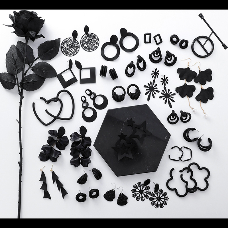 Fashion Retro Vintage Earrings Jewelry Simple Personality Black Geometric Circle Flower Earring Best Gift for Women Girl