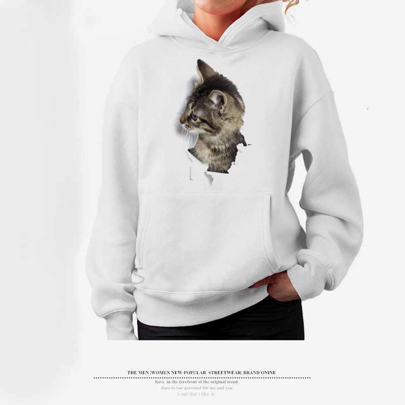 Delle donne Della Ragazza Del Fumetto 3D Lovely Cat Stampa Felpa Con Tasca Manica Lunga casual Harajuku Felpe Steetwear Sudadera Mujer Ey *