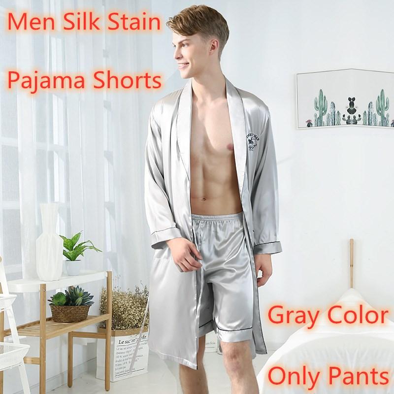 Men's Pajamas Male Satin Silk Pyjamas Summer Sleep Bottoms Lounge Short Pants Sleepwear Elastic Waist Male Home Wear Nightgrown