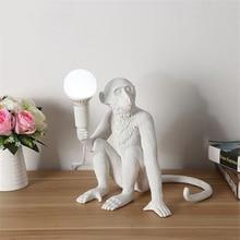 Nordic 7 Color table lamps for bedroom Monkey lamp LED Desk lights Lighting Art Replicas Resin Lamps luminaire