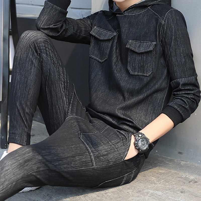 رجل موضة الأسود مجموعات 2020 الشتاء الجينز دعوى بلوزة كاجوال رجل سليم صالح الدينيم الملابس كامل طول سروال شكل قلم رصاص الذكور الزي