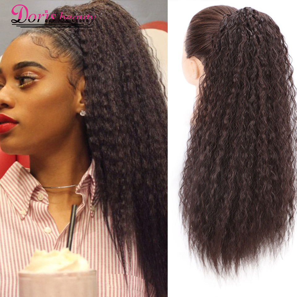 Doris Beauty Long Afro Kinky Curly Ponytail Extension 22 Inch Synthetic Drawstring Corn Hair Piece for Women Black Brown title=