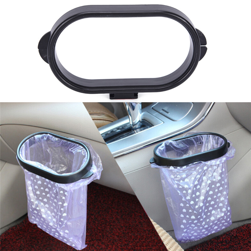 Car Trash Car Rubbish Bag Plastic Clip Vehicle Garbage Bags Frame Pasted Trash Holder Black