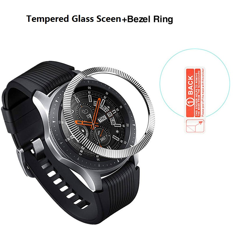Stainless Steel Bezel Ring Cover For Samsung Gear S3 Classic Fontier Galaxy Watch 46mm With Tempered Glass Screen Protector