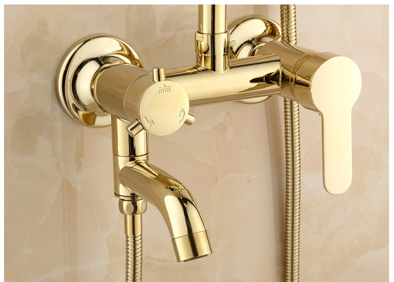H482ed40572134ec296dfa988d46053e9G Luxury Shower System Head Tube Shower System Rainfall Gold Shower Faucet Set Torneira Chuveiro Bathroom Accessories Sets BK50HS