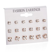 9 Pairs/Set Mix Design Crystal Square Rhinestone Stud Earrings Set For Women Wedding Bride Fashion Jewelry Best Gifts