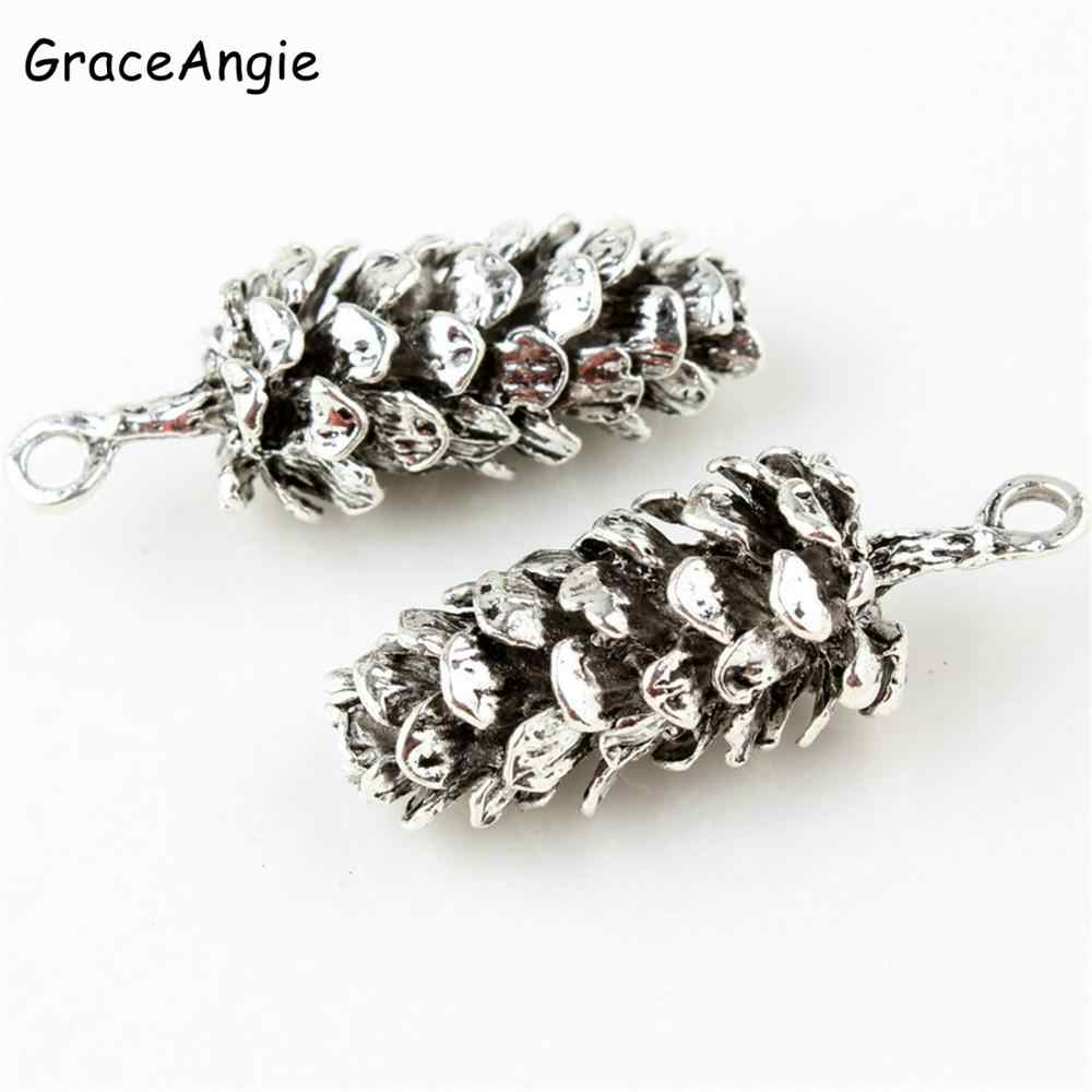 10pcs Pine cone charms Antique gold silver Metal Pendant Bracelet  Necklace DIY Jewelry Finding Anklets Keychain Handmade