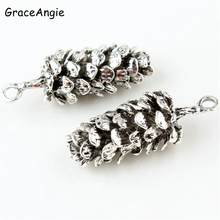 10pcs Pine cone charms Antique gold silver Metal Pendant Bracelet Necklace DIY Jewelry Finding Anklets Keychain Handmade(China)
