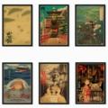 Японский мастер манга Хаяо Миядзаки работает рисунок с пиратными мотивами/Принцесса Мононоке/Мой сосед Тоторо Ретро стиль плакат o34