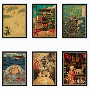 Japanese manga master Hayao Miyazaki works painting Spirited Away/Princess Mononoke/My Neighbor Totoro retro style poster o34(China)