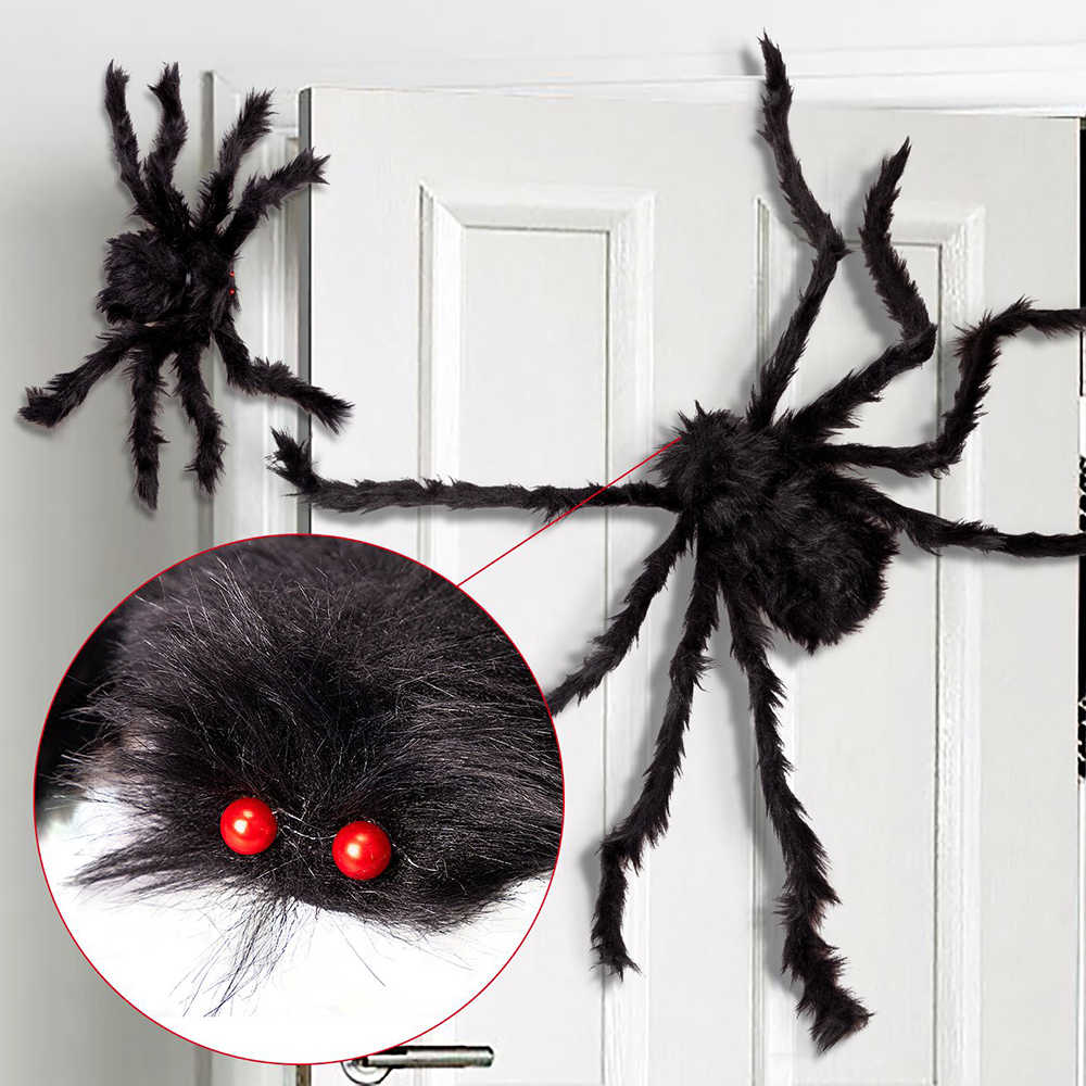 1Pc 30/50/75cm Black Big Halloween Plush Spiders Kids Children Toy Plush Black Multicolour Style For Party Halloween Decoration