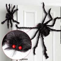 1Pc 30/50/75cm Schwarz Große Halloween Plüsch Spinnen Kinder Kinder Spielzeug Plüsch Schwarz Farbmix Stil für Party Halloween Dekoration