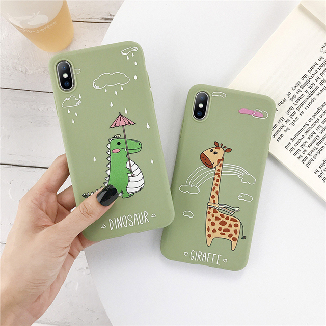 Green Cute Animals Dinosaur Giraffe Case For iPhone