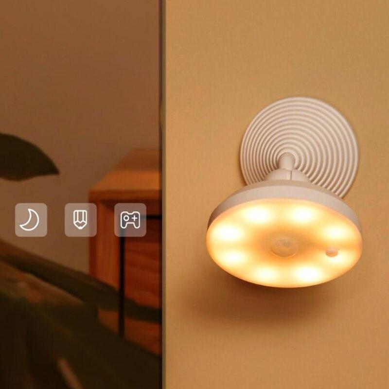 Вращающийся на 360 ° перезаряжаемый светильник с датчиком движения, белый/теплый светодиодный Ночной светильник, настенный светильник для б...