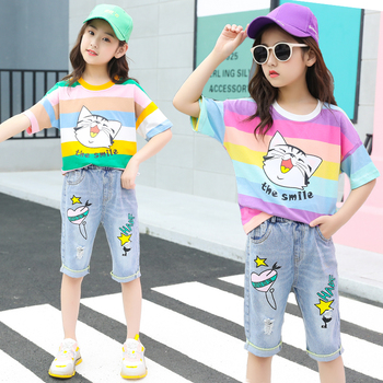 Girls Rainbow Striped T-shirt Summer Outfit Girl Clothes Jeans Shorts Kids Girls 2 Piece Clothing Set 1