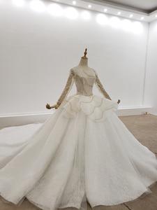 Image 4 - HTL1308 ゴールドとシルバースパンコールウェディングドレス長袖ビーズウェディングドレス背中ペプラムグリッター vestido デ noiva