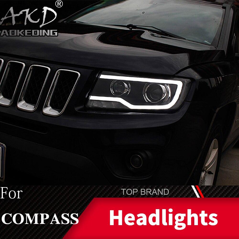 Boîtier de lampe de tête de style de voiture pour Jeep boussole 2011-2016 Grand Cherokee phare LED DRL lentille Double faisceau bi-xénon