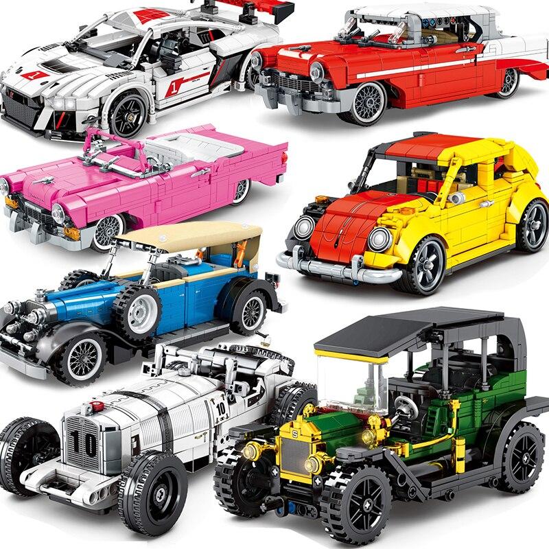 Moc técnica carro velocidade campeão blocos de construção cidade fora da estrada corrida super carro conjunto garagem modelo educacional diy brinquedos criativos