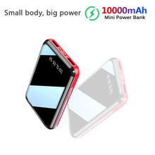 цена на 10000mAh Mini Power Bank For Xiaomi Phone 10000 mah Portable Charger LED Mirror Back Power Bank External Battery Pack Powerbank