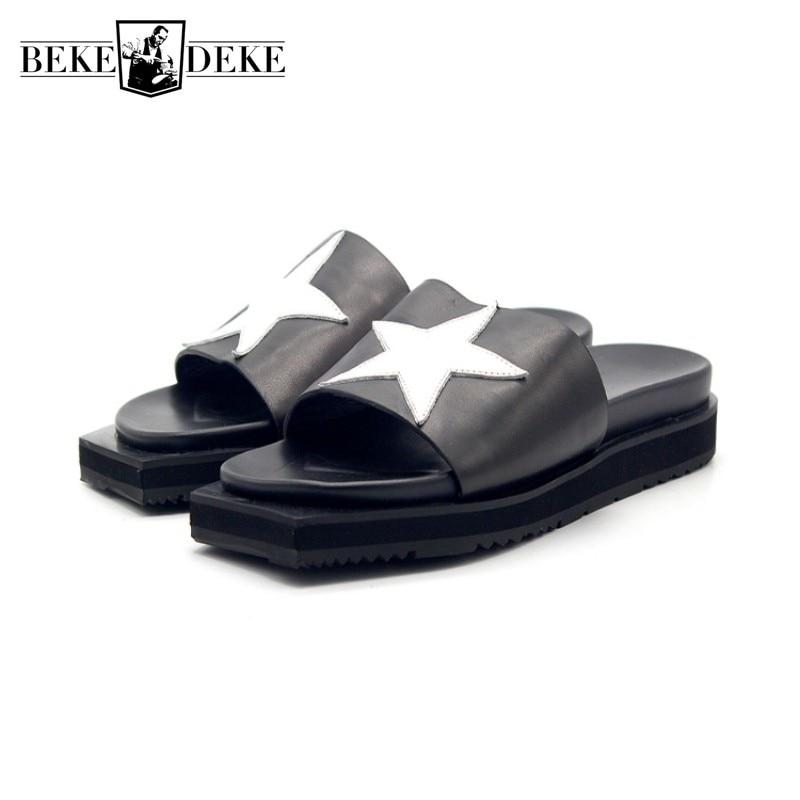 High Quality Cow Leather Men Summer Sandals Slippers Fashion Black Outdoor Platform Sandals Designer Beach Flip Flops Plus Size