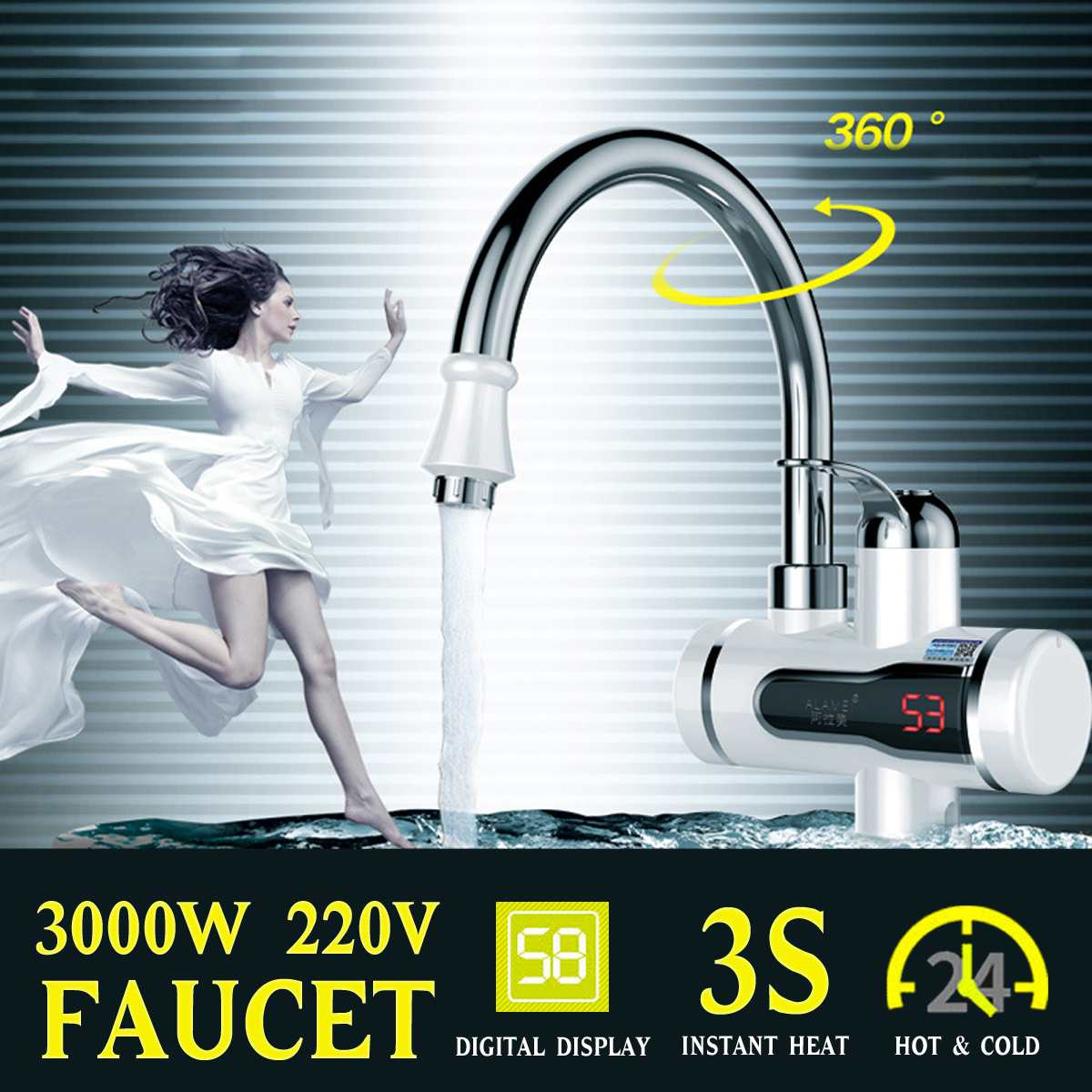 220V 3000W Electric Kitchen Water Heater Tap Instant Hot Cold Heating Water Faucet Tankless Instantaneous Digital Display