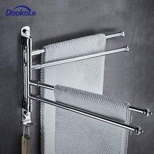 Stainless Steel Bathroom Swivel Towel Bar, 4-Arm Swing Hanger Towel Rack with Hook Space Saving Wall Mount Rotating Towel Rail