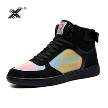 X Brand Black High top Sneakers Men Couple Shoes