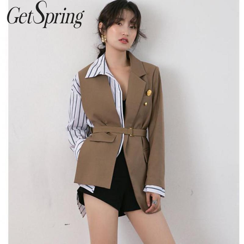 GETSPRING Women Blazer Patchwork Color Matching Irregular Women Blazers Jackets Black Khaki Asymmetry Suit Coats 2091 New Sexy